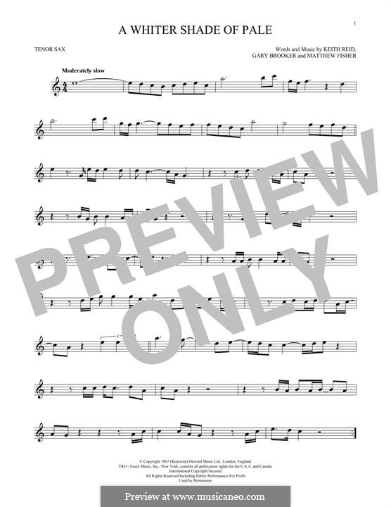 A Whiter Shade of Pale (Procol Harum): para saxofone tenor by Gary Brooker