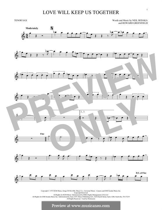 Love Will Keep Us Together (The Captain & Tennille): para saxofone tenor by Howard Greenfield, Neil Sedaka
