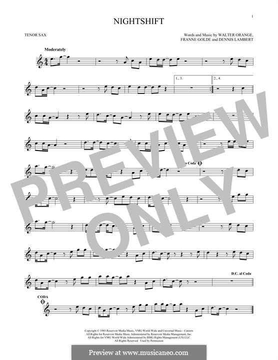Nightshift (The Commodores): para saxofone tenor by Dennis Lambert, Francine Golde, Walter Orange