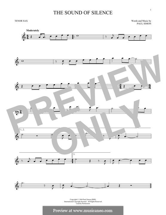 The Sound of Silence (Simon & Garfunkel): para saxofone tenor by Paul Simon