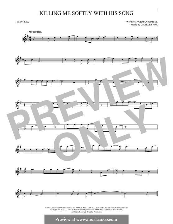 Killing Me Softly with His Song: para saxofone tenor by Charles Fox
