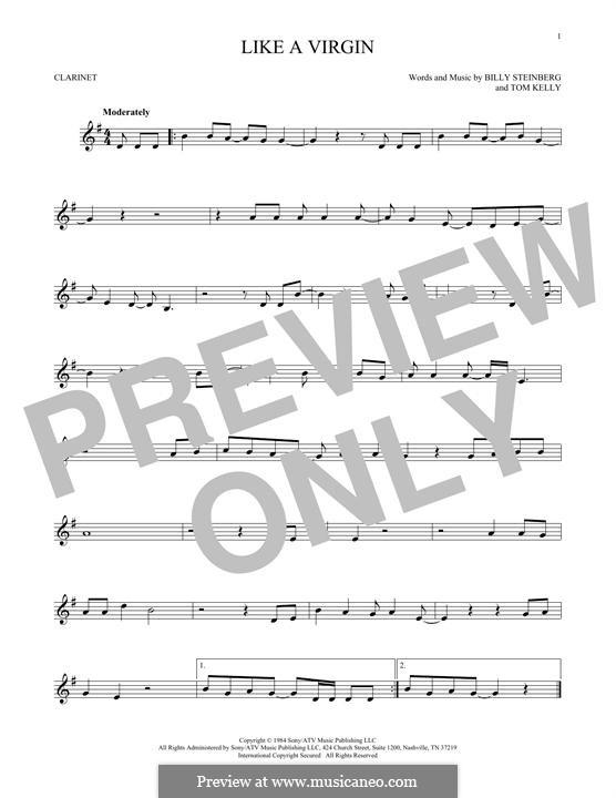 Like a Virgin (Madonna): para clarinete by Billy Steinberg, Tom Kelly
