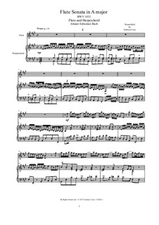 Four Flute Sonatas for Flute and Harpsichord (or Piano), BWV 1032/33/34/35: Scores and solo part by Johann Sebastian Bach