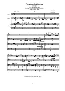 Concerto for Oboe, Strings, and Continuo in G Minor, HWV 287: Version for two flutes and piano - score and parts by Georg Friedrich Händel