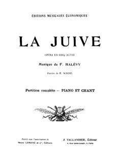 La Jiuve (The Jewess): para solistas,coral e piano by Fromental Halevy