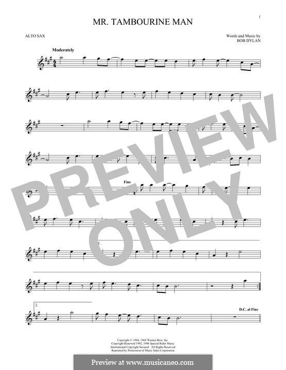 Mr. Tambourine Man: para Saxofone Alto by Bob Dylan