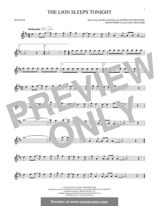 The Lion Sleeps Tonight (Wimoweh): para Saxofone Alto by George David Weiss, Hugo Peretti, Luigi Creatore