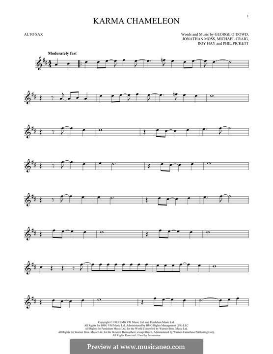 Karma Chameleon (Culture Club): para Saxofone Alto by George O'Dowd, Jon Moss, Michael Craig, Philip Pickett, Roy Hay