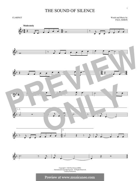 The Sound of Silence (Simon & Garfunkel): para clarinete by Paul Simon