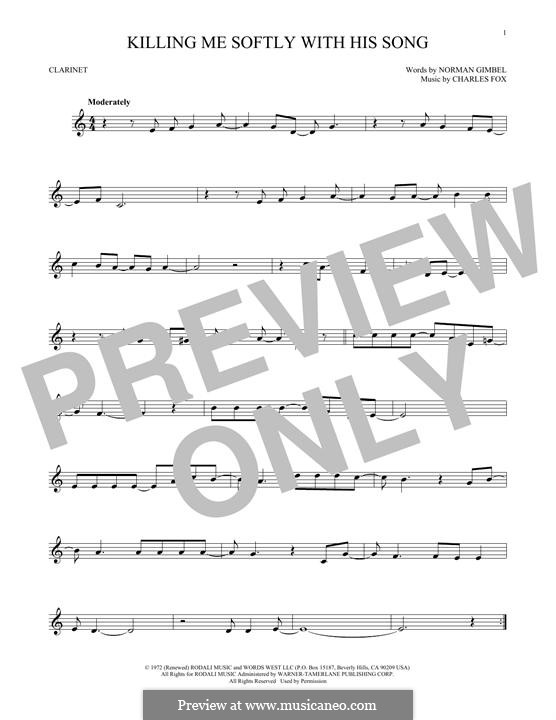 Killing Me Softly with His Song: para clarinete by Charles Fox