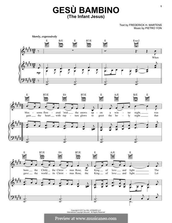 Gesu Bambino (The Infant Jesus): Para vocais e piano (ou Guitarra) by Pietro Yon