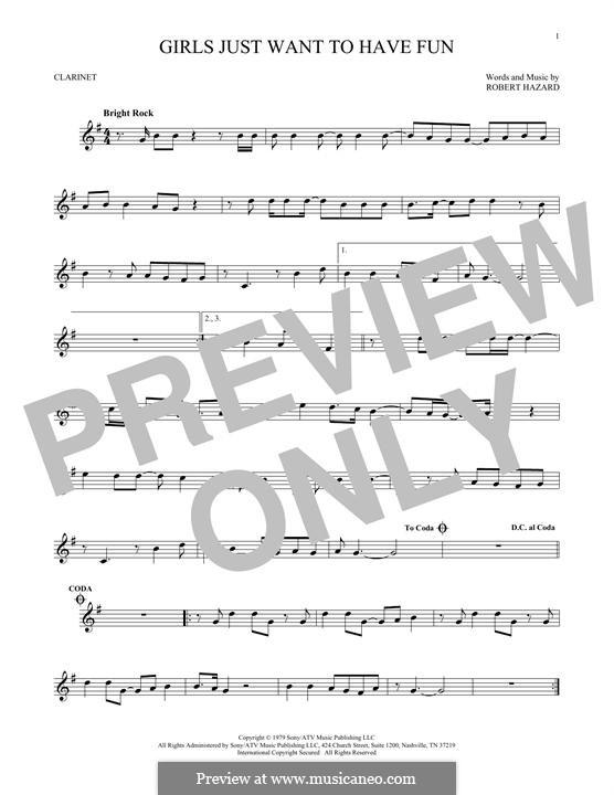 Girls Just Want to Have Fun: para clarinete by Robert Hazard