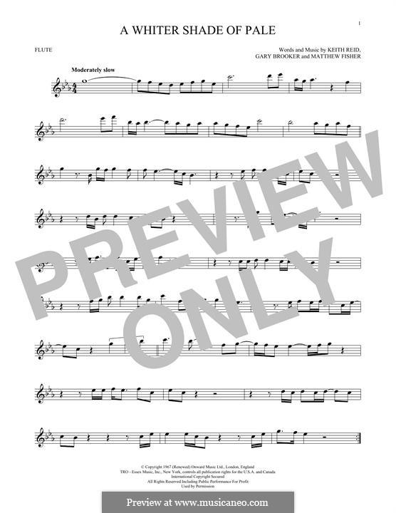 A Whiter Shade of Pale (Procol Harum): para flauta by Gary Brooker