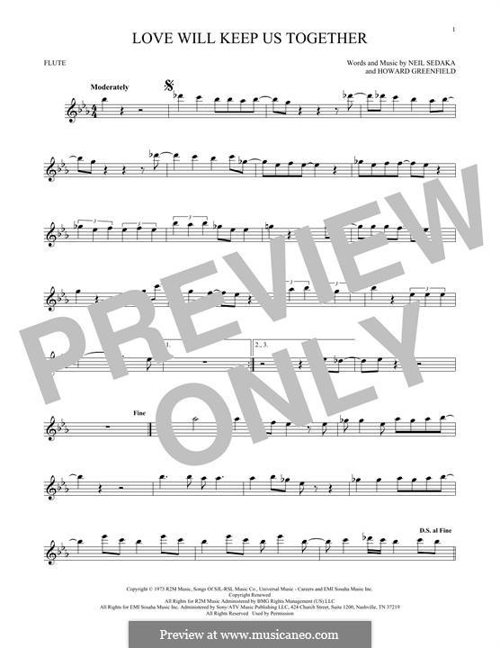 Love Will Keep Us Together (The Captain & Tennille): para flauta by Howard Greenfield, Neil Sedaka