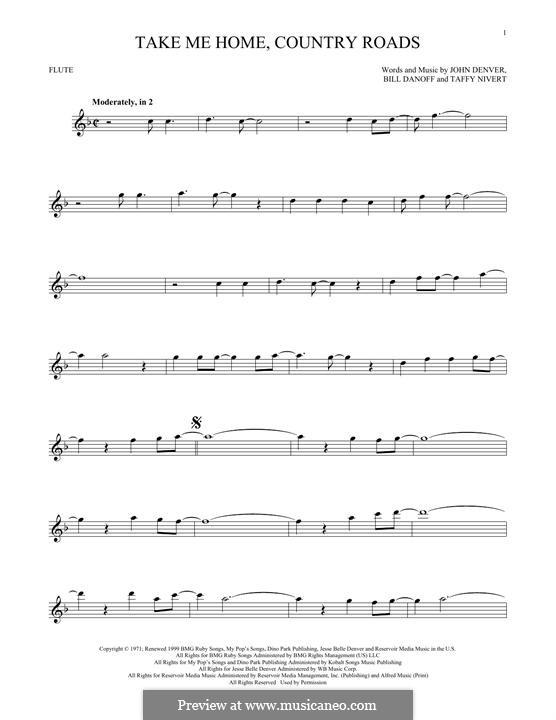 Take Me Home, Country Roads: para flauta by Bill Danoff, John Denver, Taffy Nivert