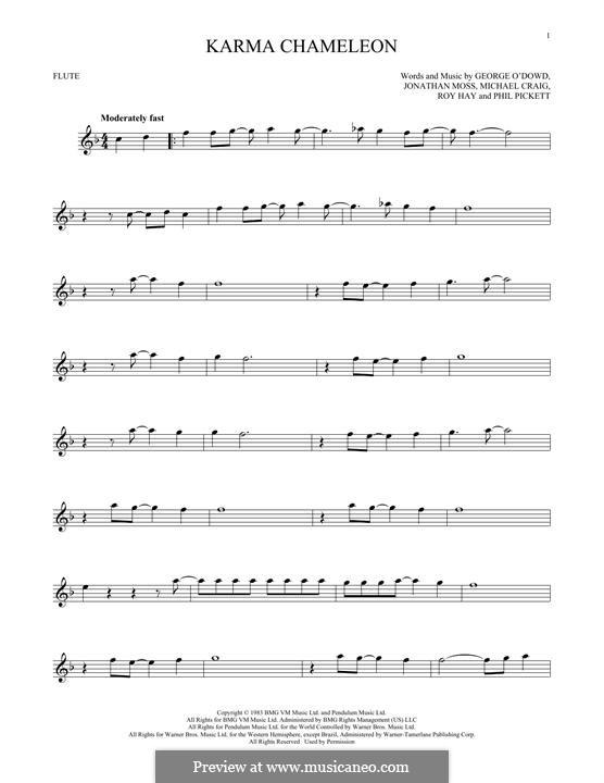 Karma Chameleon (Culture Club): para flauta by George O'Dowd, Jon Moss, Michael Craig, Philip Pickett, Roy Hay