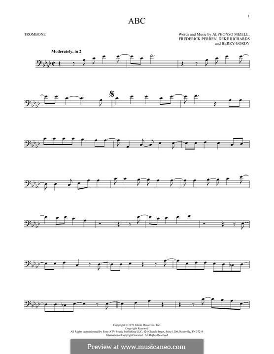 ABC (The Jackson 5): para trombone by Alphonso Mizell, Berry Gordy, Deke Richards, Freddie Perren