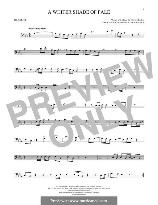 A Whiter Shade of Pale (Procol Harum): para trombone by Gary Brooker