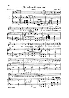 Romances and Ballades, Op.49: No.1 Two Grenadiers, for voice and piano by Robert Schumann