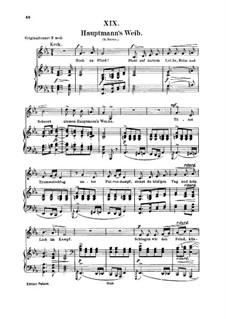No.19 Hauptmann's Weib (La femme du chef): Para vocais e piano by Robert Schumann