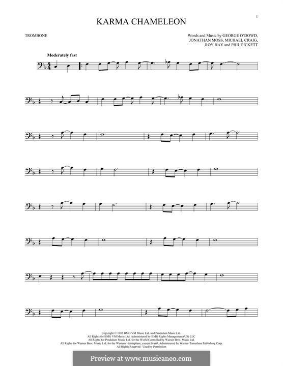 Karma Chameleon (Culture Club): para trombone by George O'Dowd, Jon Moss, Michael Craig, Philip Pickett, Roy Hay