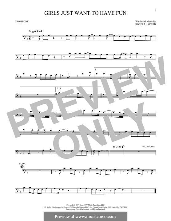 Girls Just Want to Have Fun: para trombone by Robert Hazard