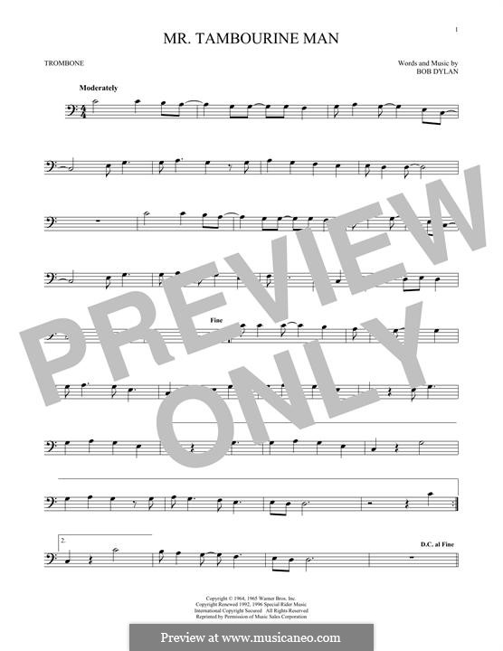 Mr. Tambourine Man: para trombone by Bob Dylan