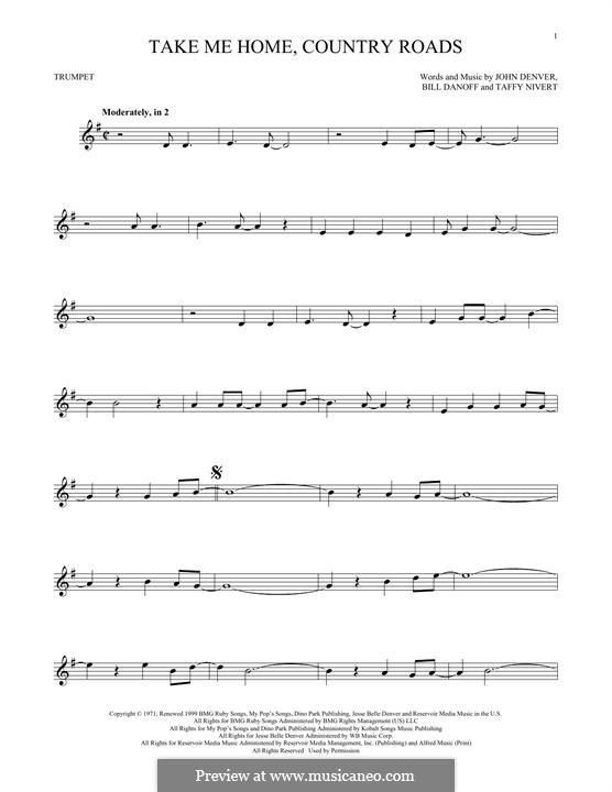 Take Me Home, Country Roads: para trompeta by Bill Danoff, John Denver, Taffy Nivert