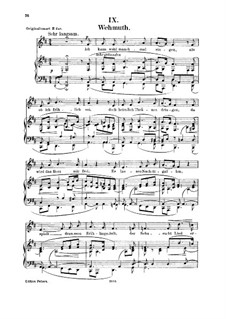 No.9 Wehmut (Melancholy): Para vocais e piano by Robert Schumann