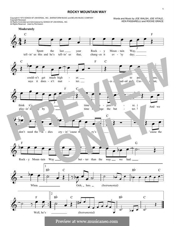 Rocky Mountain Way: melodia by Joe Vitale, Joe Walsh, Ken Passarelli, Rocke Grace