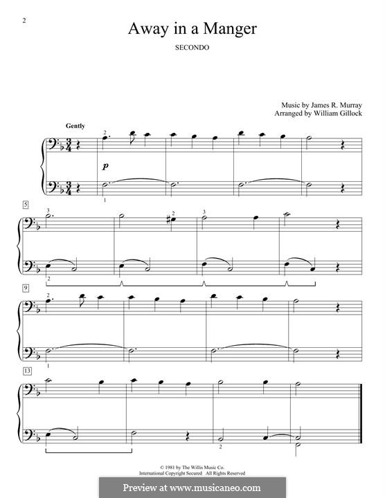 Away in a Manger (Printable Scores): Para Piano by James R. Murray