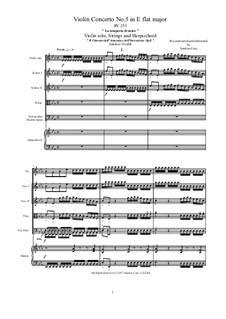 Violin Concerto No.5 in E Flat Major 'La tempesta di mare', RV 253 : partituras completas, partes by Antonio Vivaldi