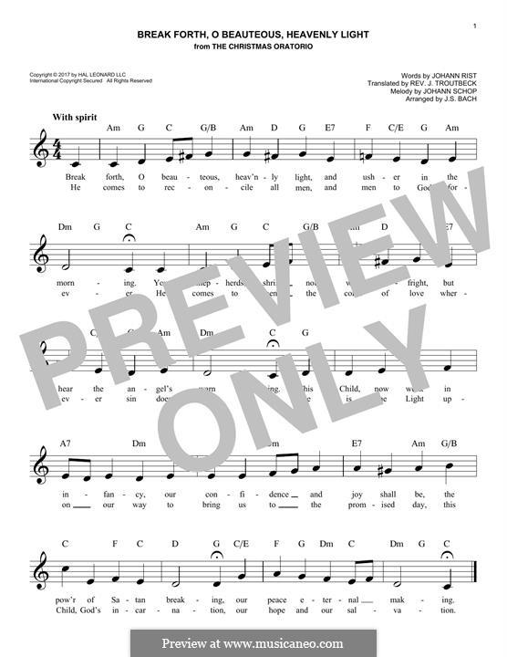 Break Forth, o Beauteous, Heavenly Light: melodia by Johann Schop