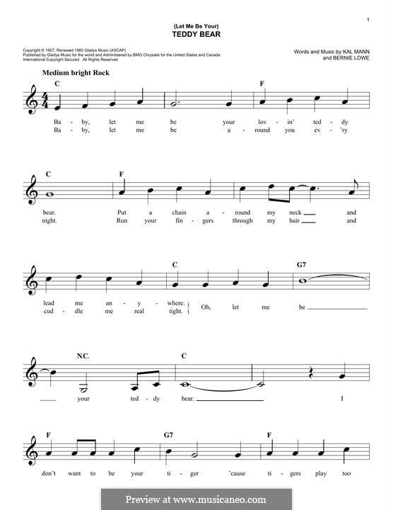 (Let Me Be Your) Teddy Bear (Elvis Presley): melodia by Bernie Lowe, Kal Mann