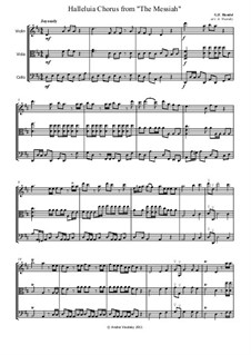 No.44 Hallelujah: para trio de cordas by Georg Friedrich Händel