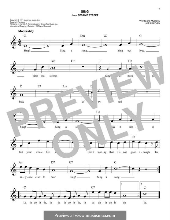 Sing (The Carpenters): melodia by Joe Raposo