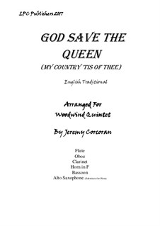 God Save the Queen: For wind quintet by folklore