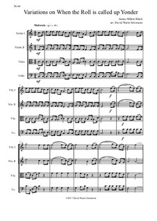 When the Roll is Called: Variations, for string quartet by James Milton Black