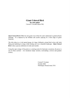 Giant Colored Bird for solo guitar: Giant Colored Bird for solo guitar by Carson Cooman