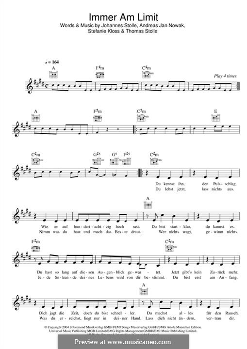 Immer am Limit (Silbermond): melodia by Johannes Stolle, Thomas Stolle, Andreas Jan Nowak, Stefanie Kloss