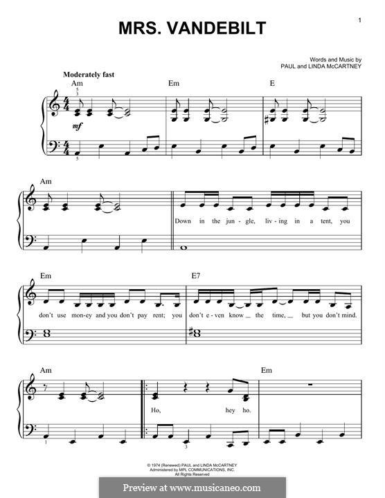 Mrs. Vandebilt (Wings): Para Piano by Linda McCartney, Paul McCartney