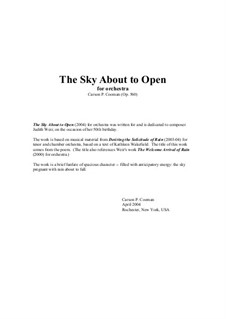 The Sky About to Open for orchestra: Score only by Carson Cooman