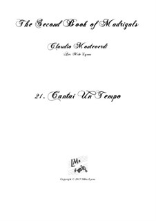 Book 2 (a cinque voci), SV 40–59: No.21 Cantai un tempo. Arrangement for quintet instruments by Claudio Monteverdi