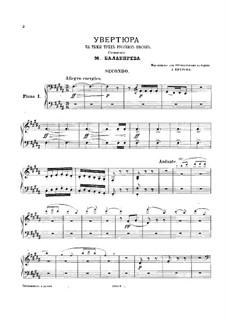 Overture on Three Russian Themes: para dois pianos para oito mãos - piano parte I by Mily Balakirev