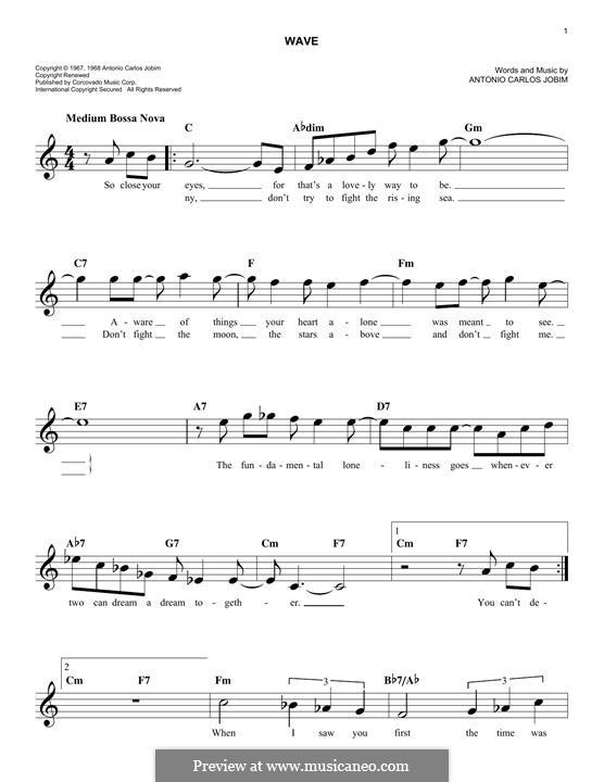 Wave: melodia by Antonio Carlos Jobim