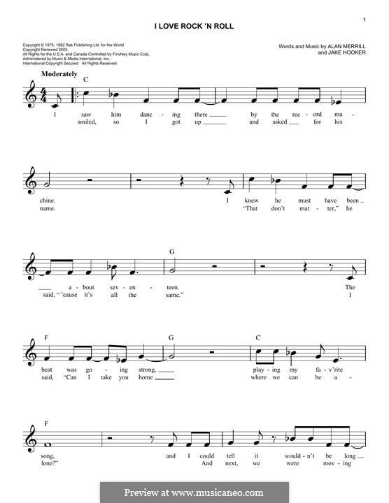 I Love Rock 'n Roll: melodia by Alan Merrill, Jake Hooker