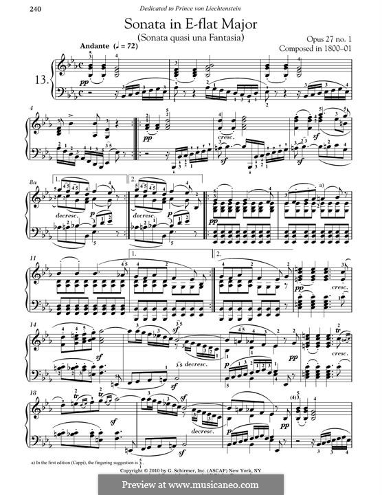Sonata for Piano No.13, Op.27 No.1: para um único musico (Editado por H. Bulow) by Ludwig van Beethoven