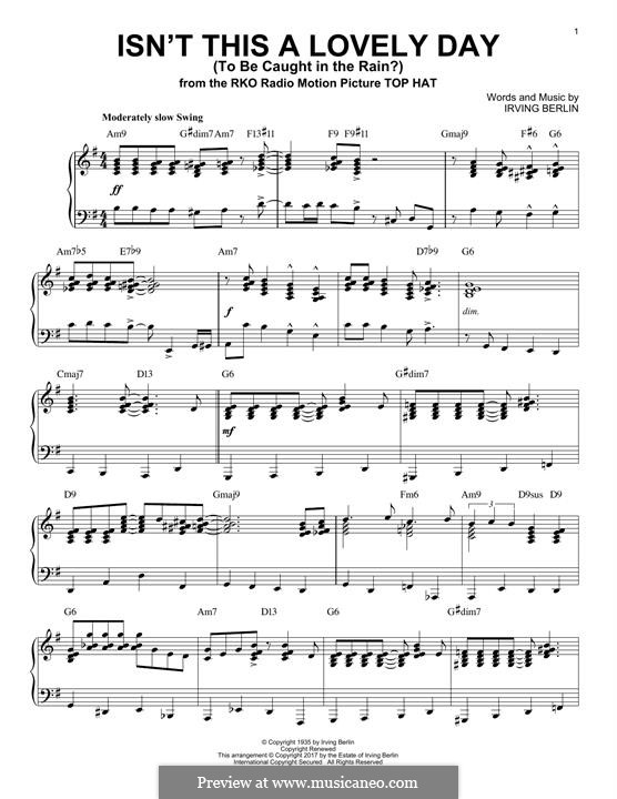Isn't This a Lovely Day (To Be Caught in the Rain?): For piano (jazz version) by Irving Berlin