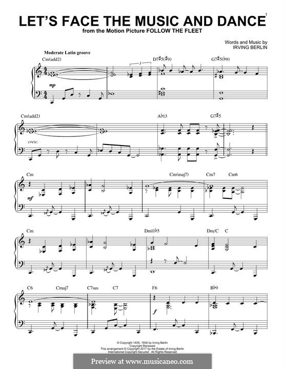 Let's Face the Music and Dance: For piano (jazz version) by Irving Berlin