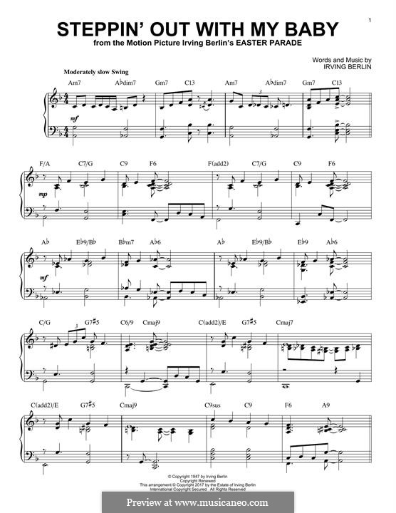 Steppin' Out with My Baby: For piano (jazz version) by Irving Berlin